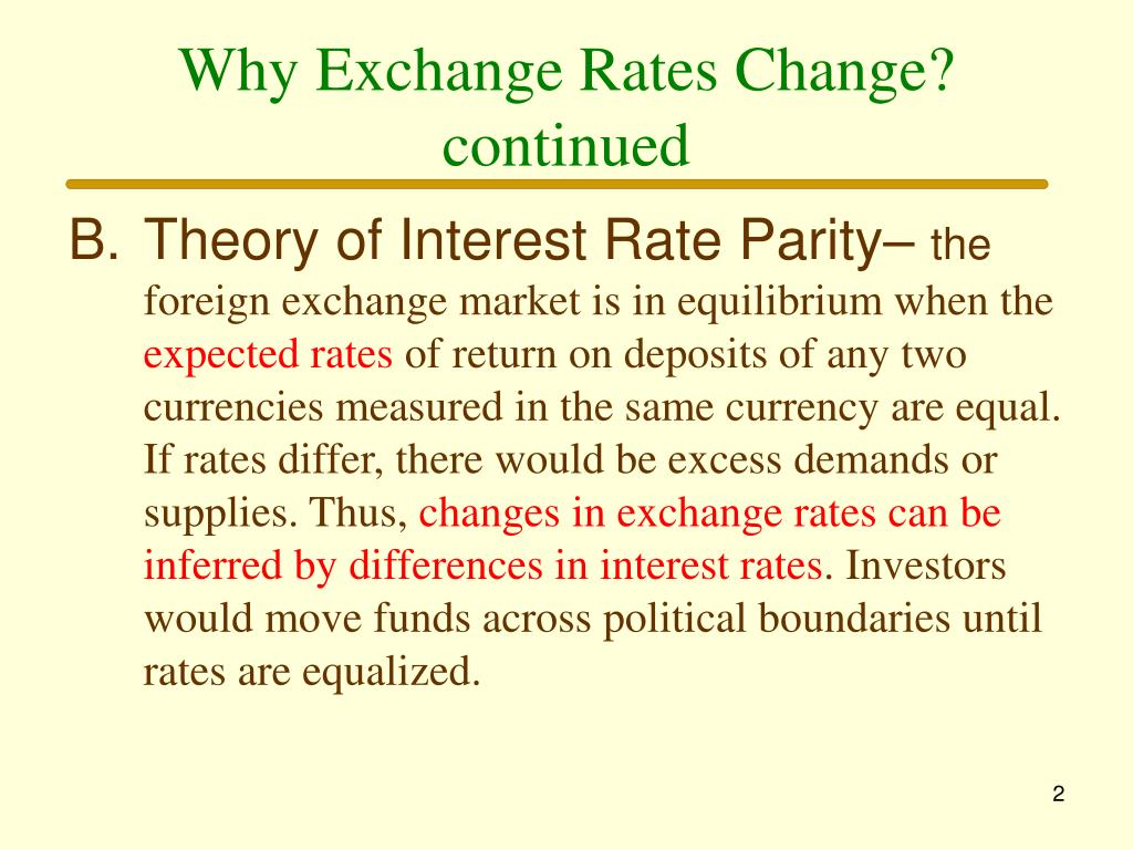 Why Exchange Rates Change? continued