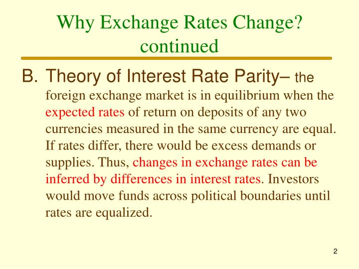 Why exchange rates change continued