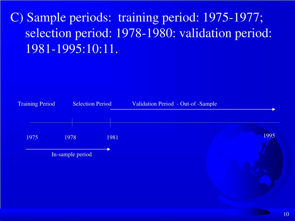 C) Sample periods:  training period: 1975-1977;