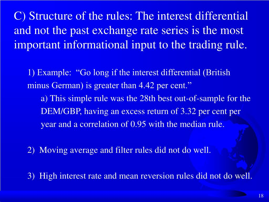 C) Structure of the rules: The interest differential and not the past exchange rate series is the most important informational input to the trading rule.