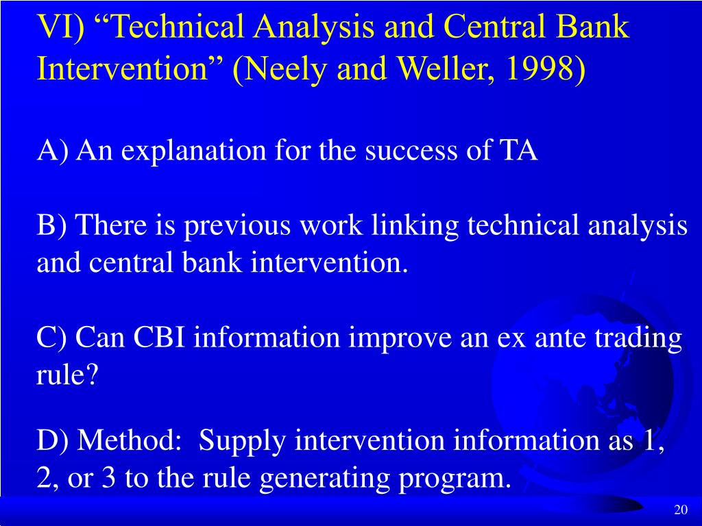 "VI) ""Technical Analysis and Central Bank Intervention"" (Neely and Weller, 1998)"