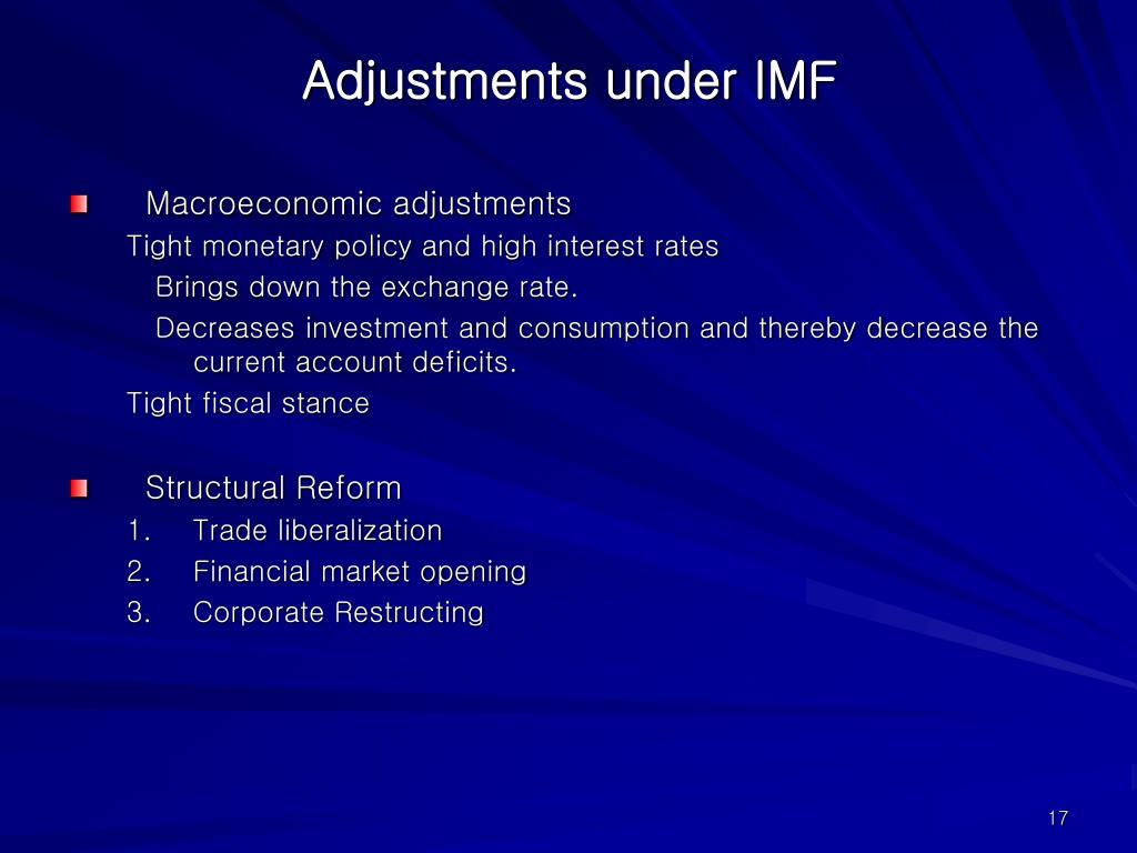Adjustments under IMF