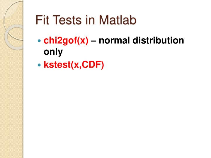 Fit Tests in Matlab