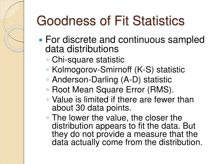 Goodness of Fit Statistics
