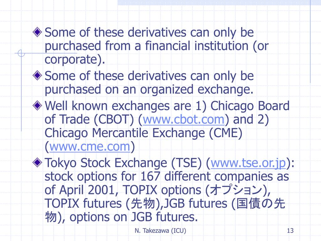 Some of these derivatives can only be purchased from a financial institution (or corporate).