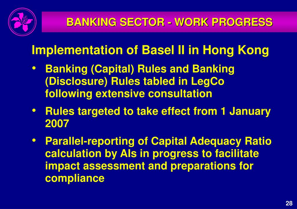 BANKING SECTOR - WORK PROGRESS