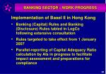 banking sector work progress
