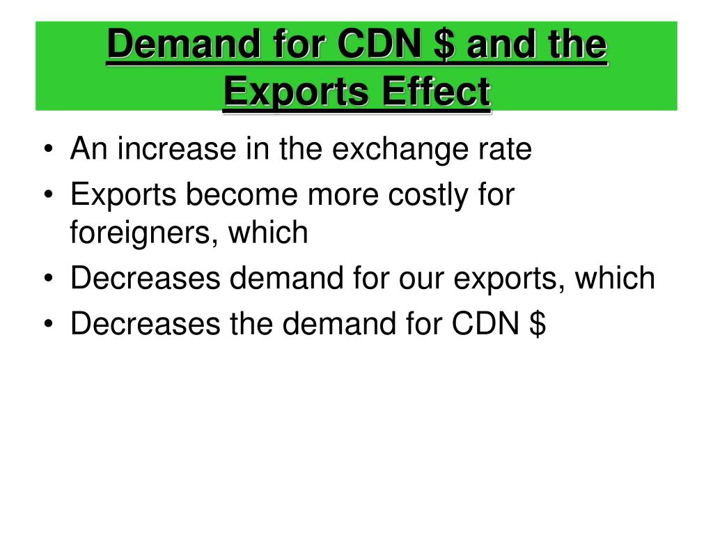 Demand for CDN $ and the Exports Effect