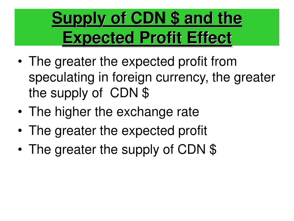 Supply of CDN $ and the Expected Profit Effect