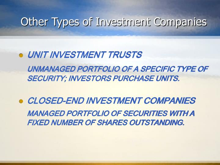 Other Types of Investment Companies