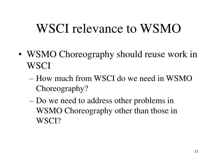 WSCI relevance to WSMO