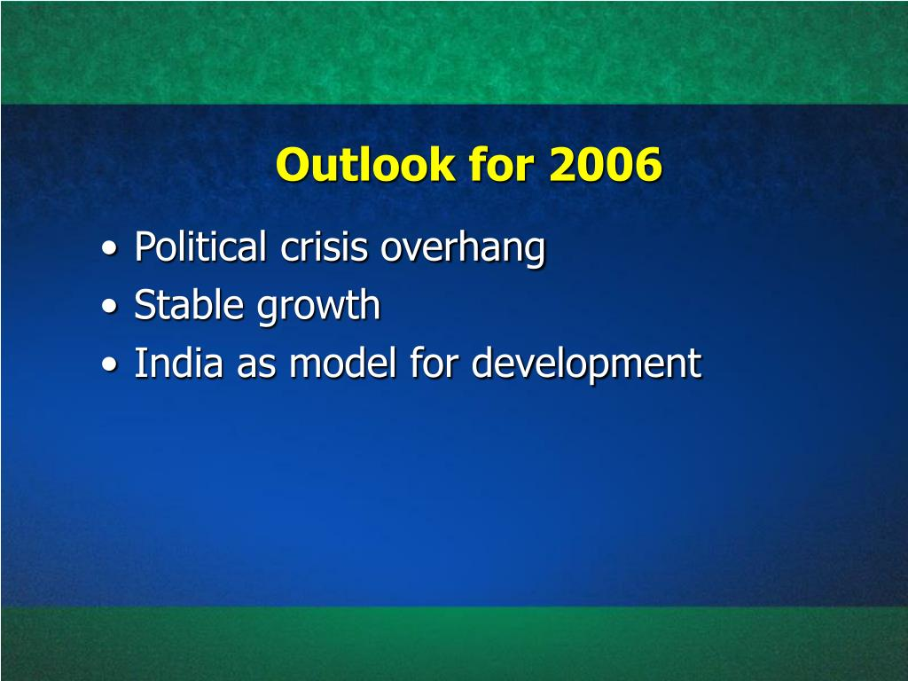 Outlook for 2006