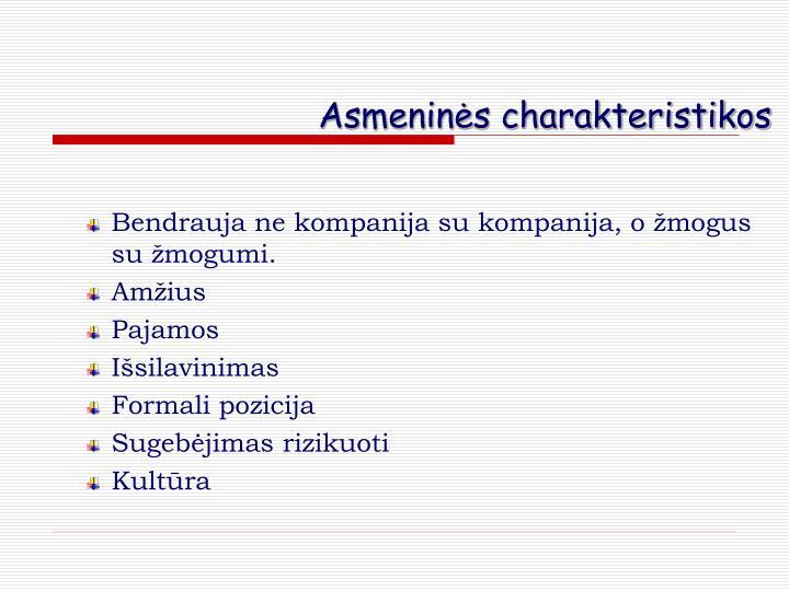 Asmeninės charakteristikos