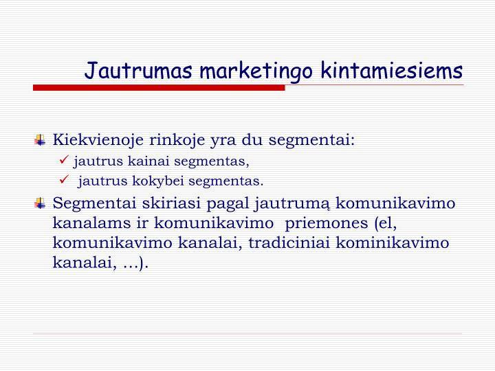 Jautrumas marketingo kintamiesiems
