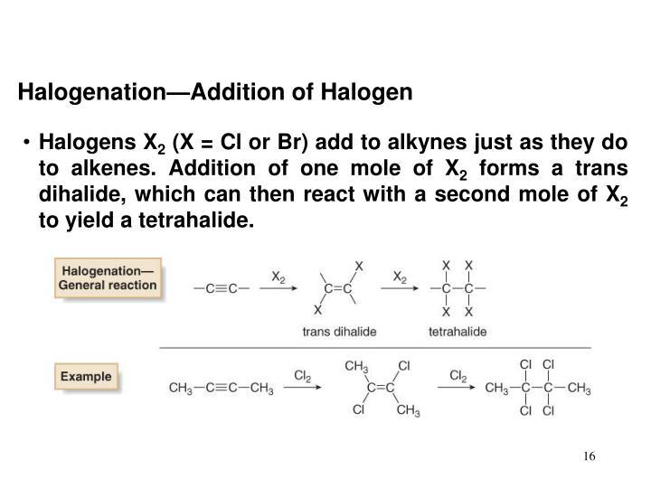 Halogenation—Addition of Halogen