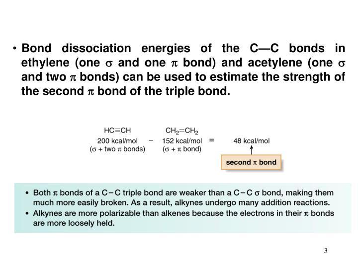Bond dissociation energies of the C—C bonds in ethylene (one