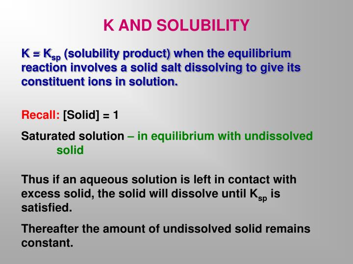 K AND SOLUBILITY
