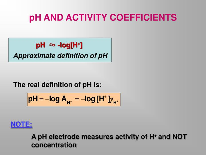 pH AND ACTIVITY COEFFICIENTS