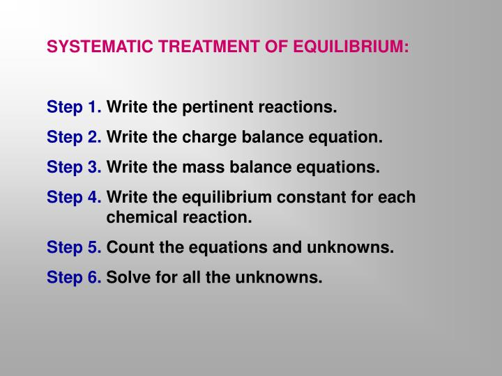 SYSTEMATIC TREATMENT OF EQUILIBRIUM: