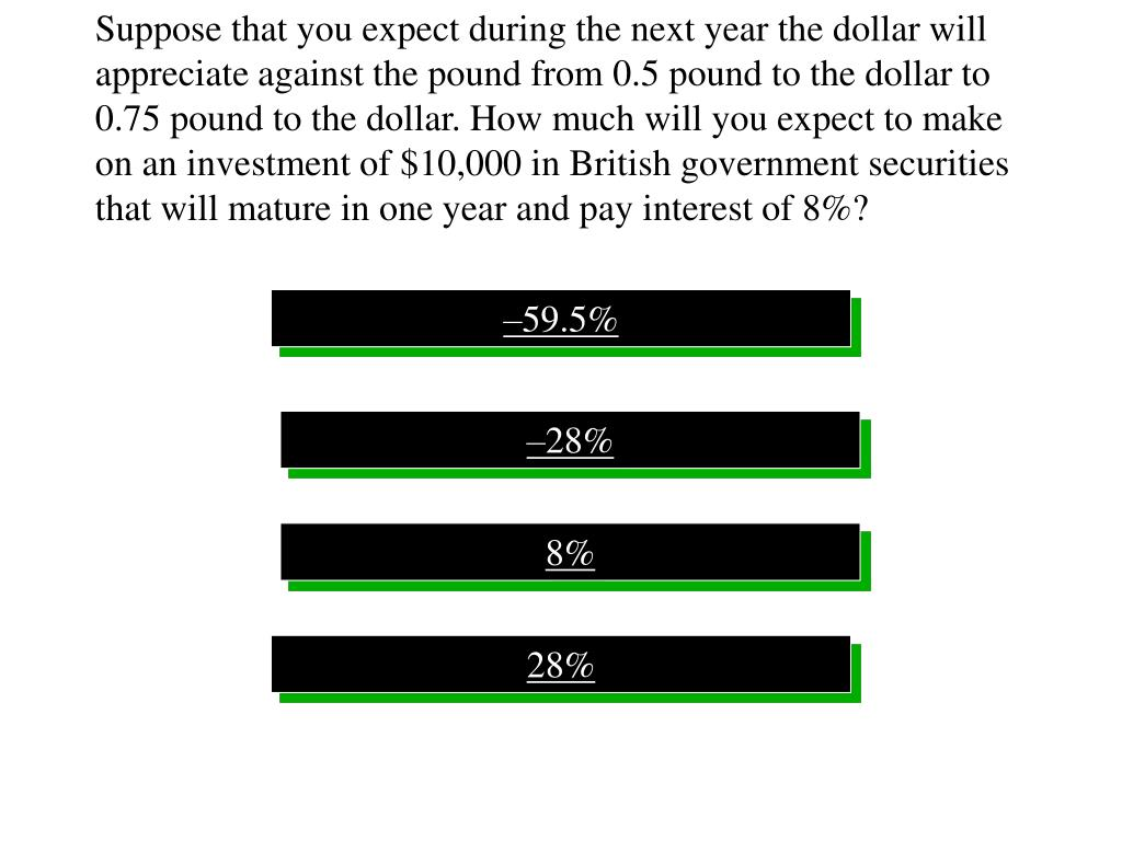 Suppose that you expect during the next year the dollar will appreciate against the pound from 0.5 pound to the dollar to 0.75 pound to the dollar. How much will you expect to make on an investment of $10,000 in British government securities that will mature in one year and pay interest of 8%?