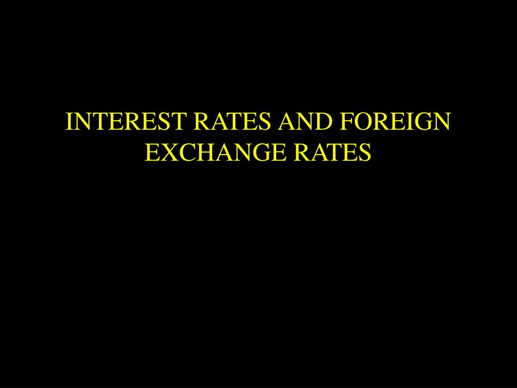 INTEREST RATES AND FOREIGN EXCHANGE RATES