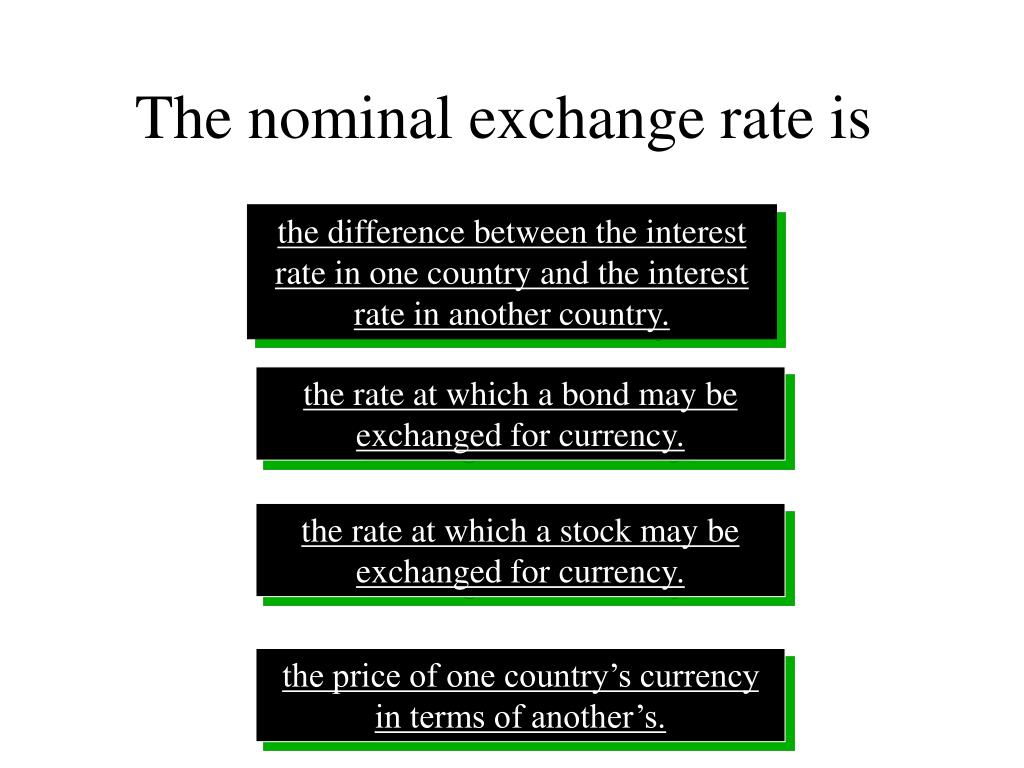 The nominal exchange rate is