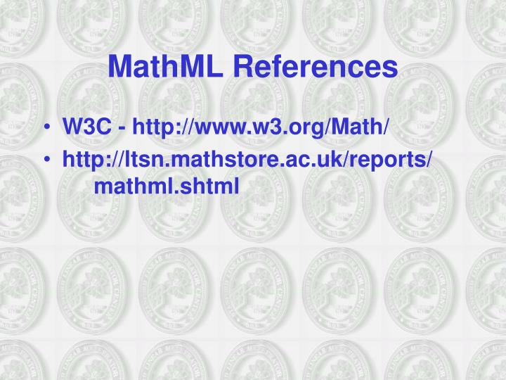MathML References