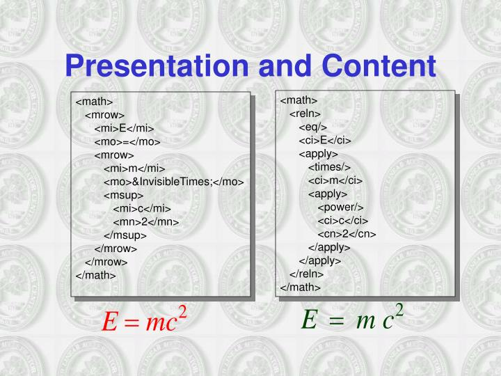 Presentation and Content
