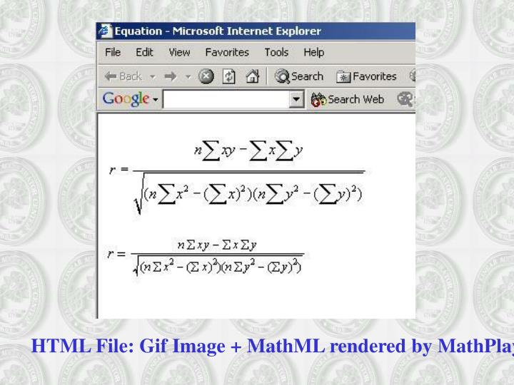 HTML File: Gif Image + MathML rendered by MathPlayer