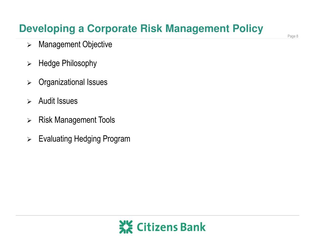 Developing a Corporate Risk Management Policy