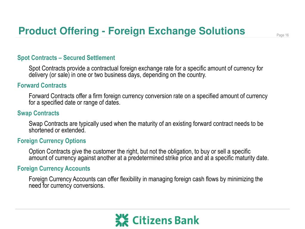 Product Offering - Foreign Exchange Solutions