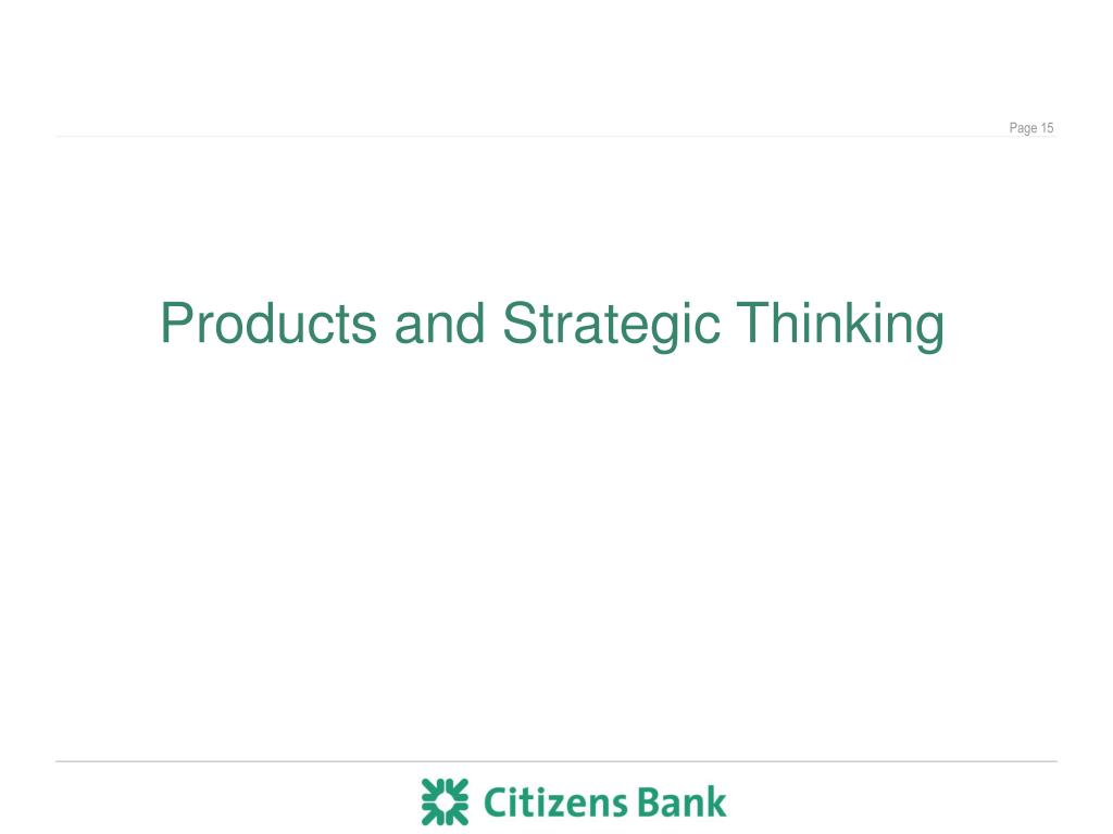 Products and Strategic Thinking