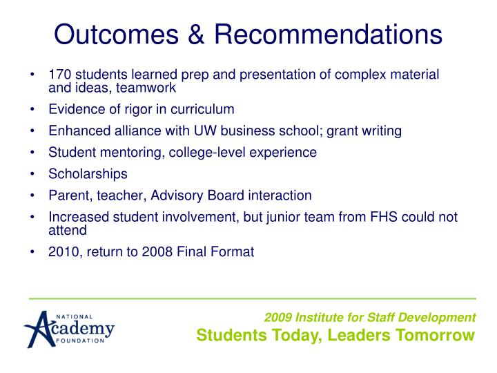 Outcomes & Recommendations