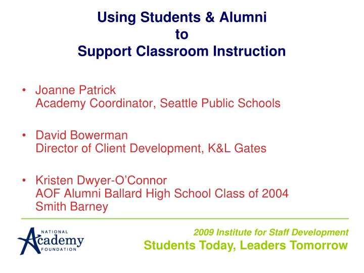 Using Students & Alumni