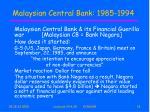 malaysian central bank 1985 1994