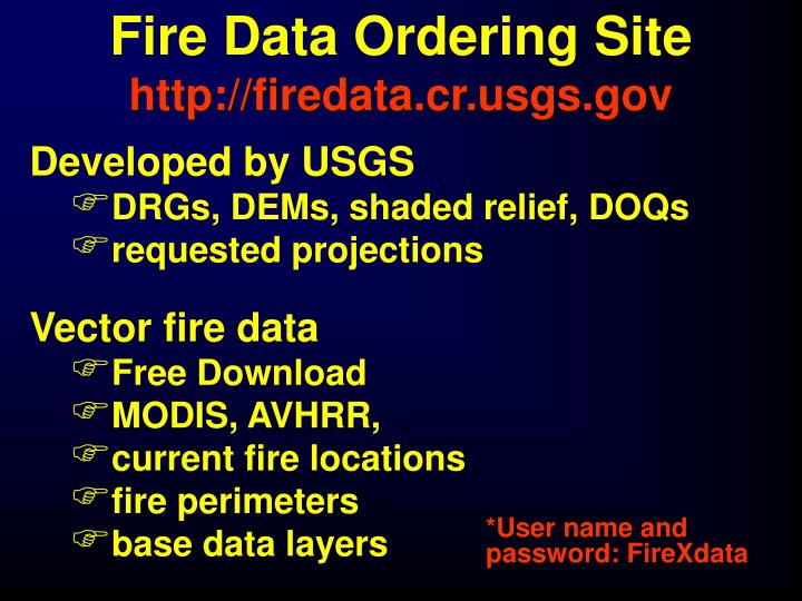 Fire Data Ordering Site