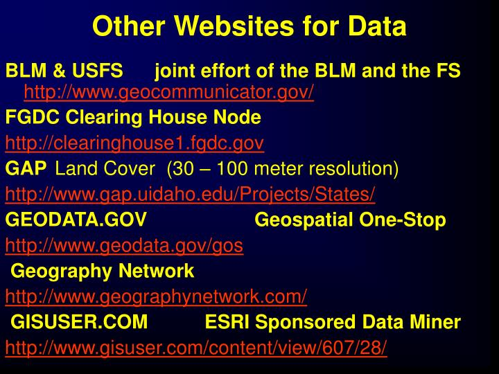 Other Websites for Data