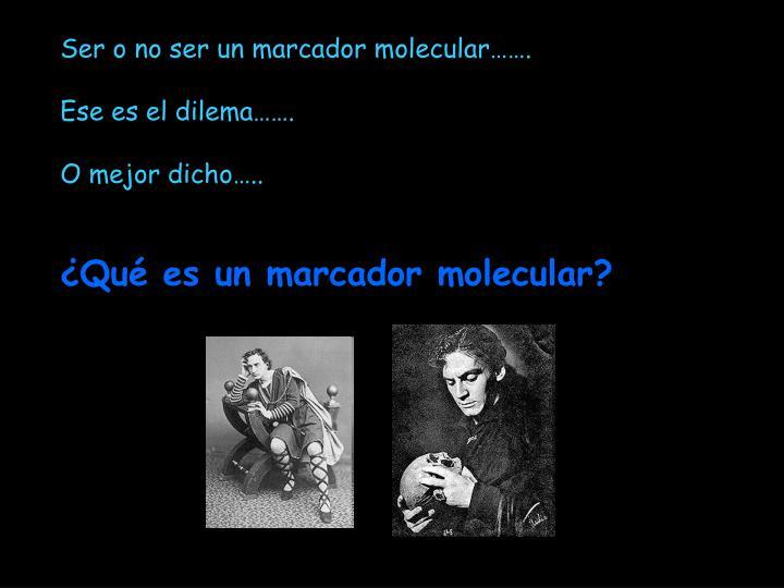 Ser o no ser un marcador molecular…….