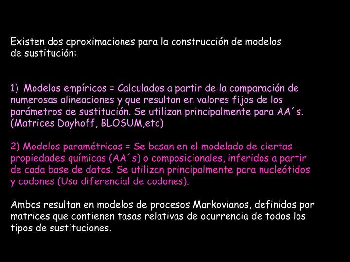 Existen dos aproximaciones para la construcción de modelos