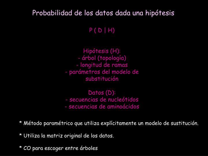 Probabilidad de los datos dada una hipótesis