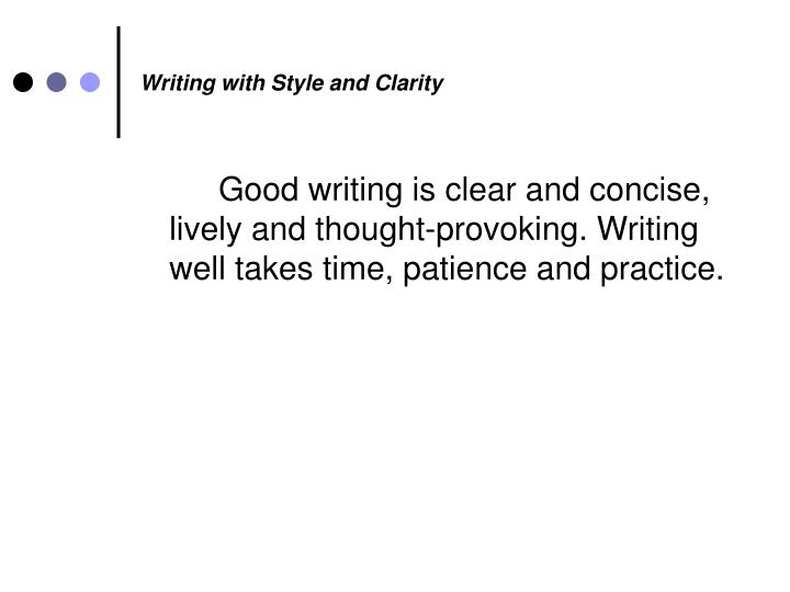 Writing with Style and Clarity