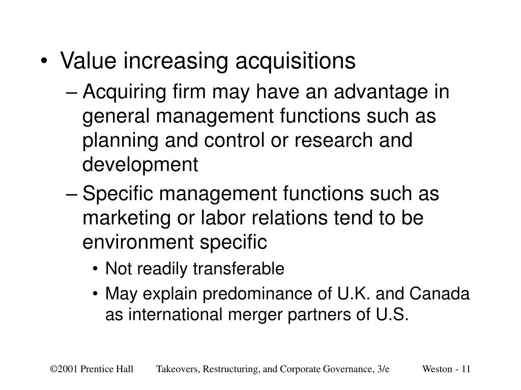 Value increasing acquisitions