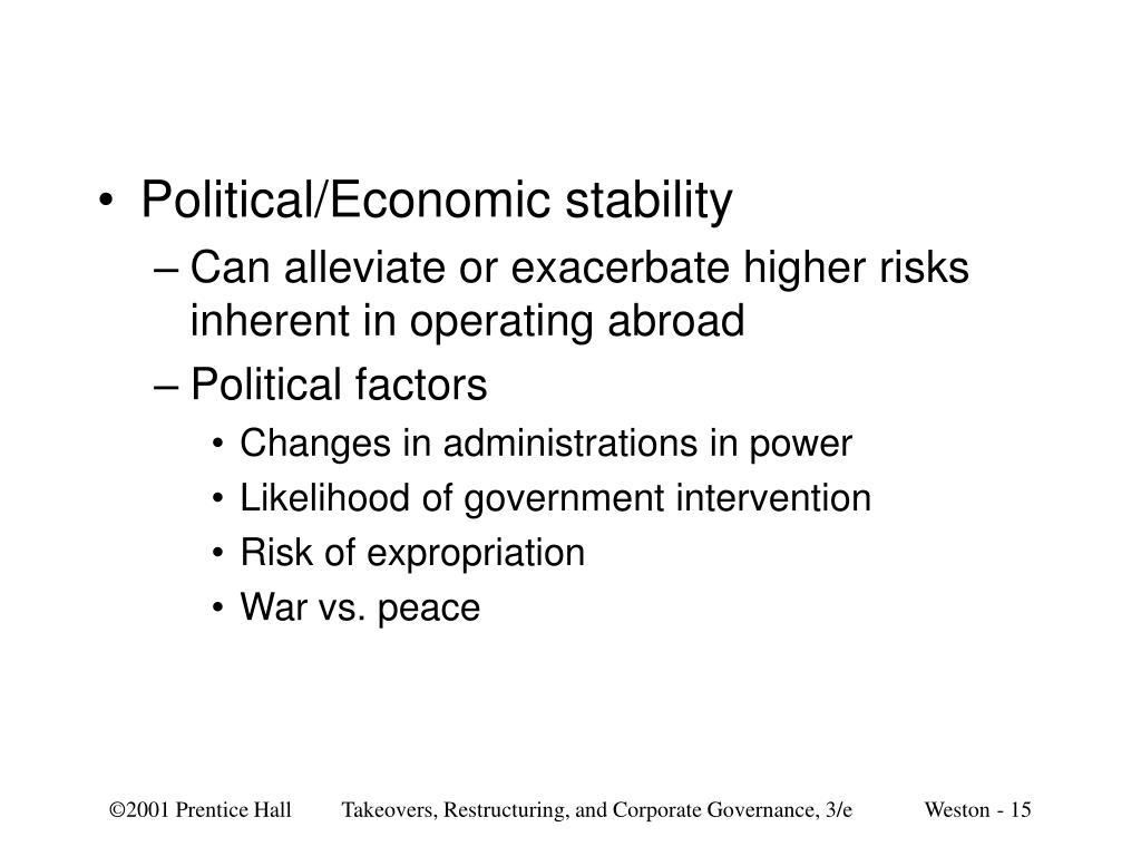 Political/Economic stability