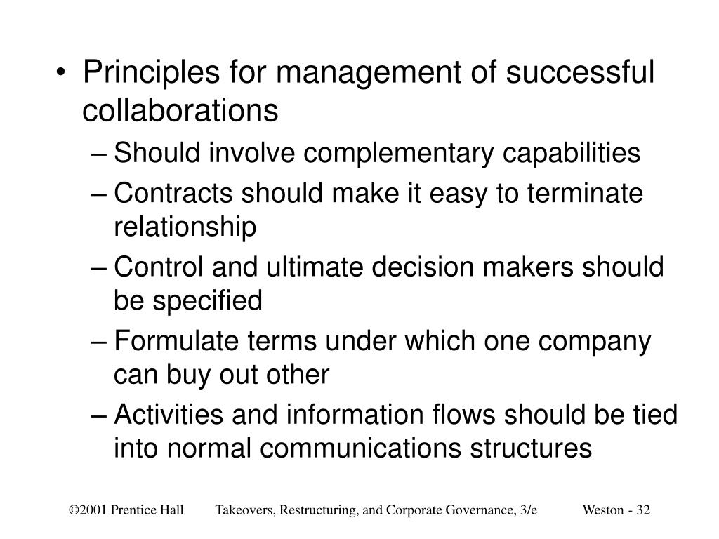 Principles for management of successful collaborations