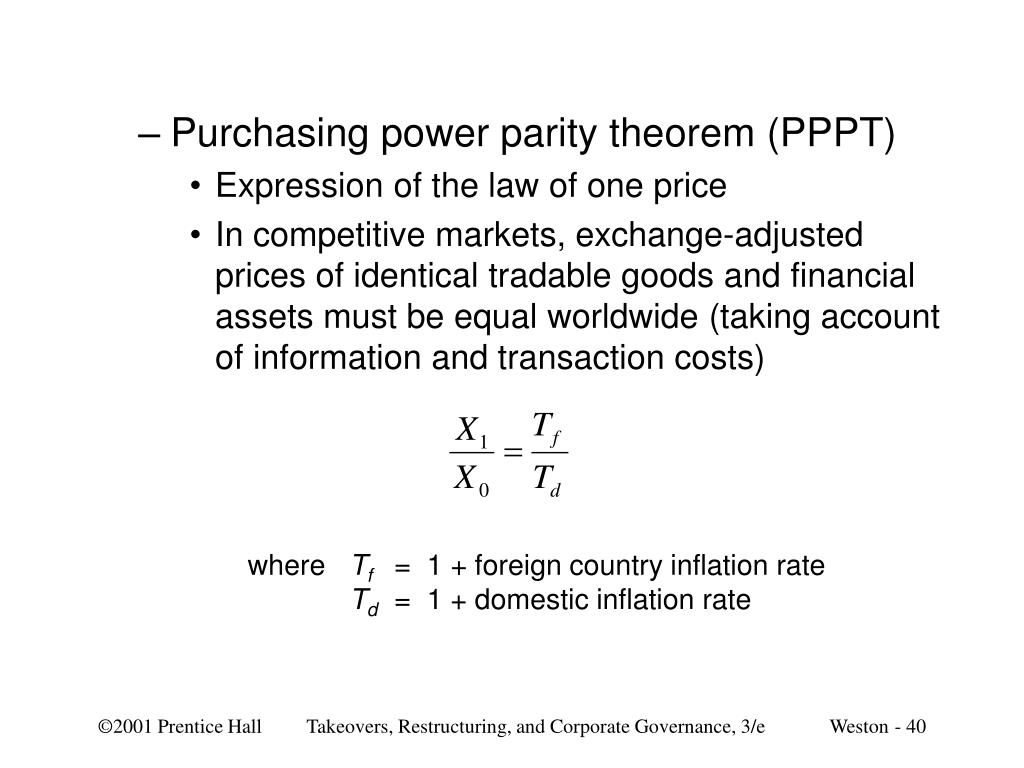 Purchasing power parity theorem (PPPT)