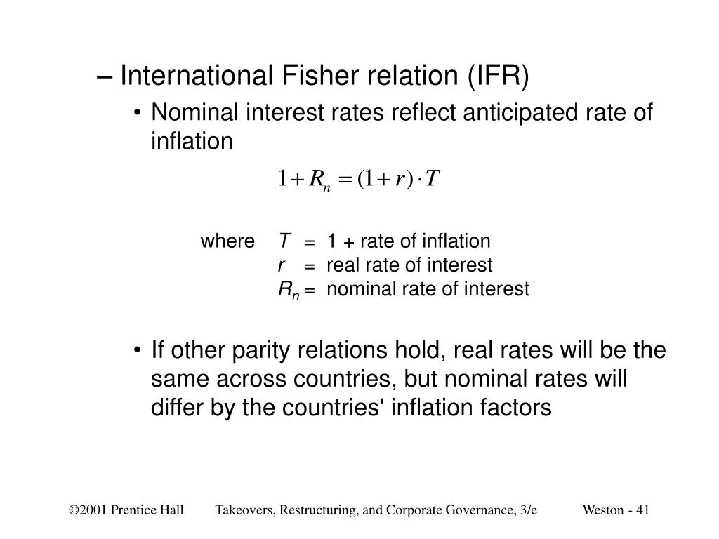 International Fisher relation (IFR)