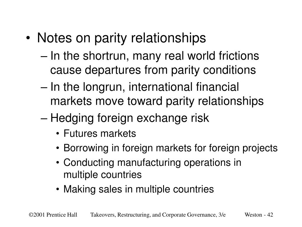 Notes on parity relationships