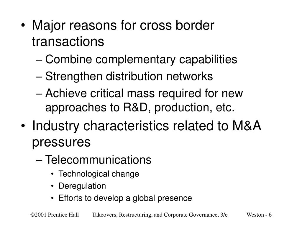 Major reasons for cross border transactions