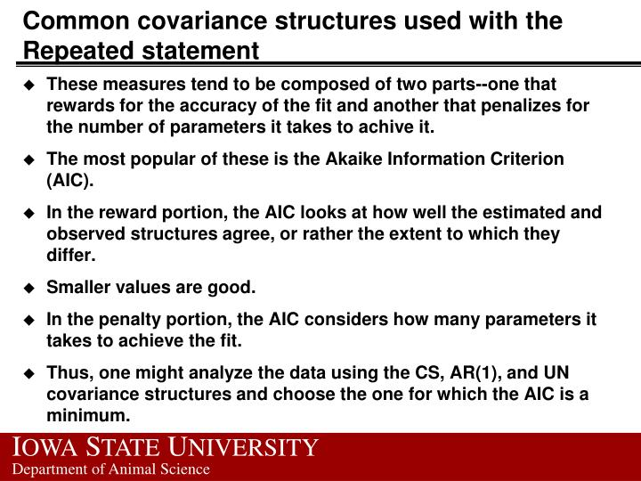Common covariance structures used with the Repeated statement