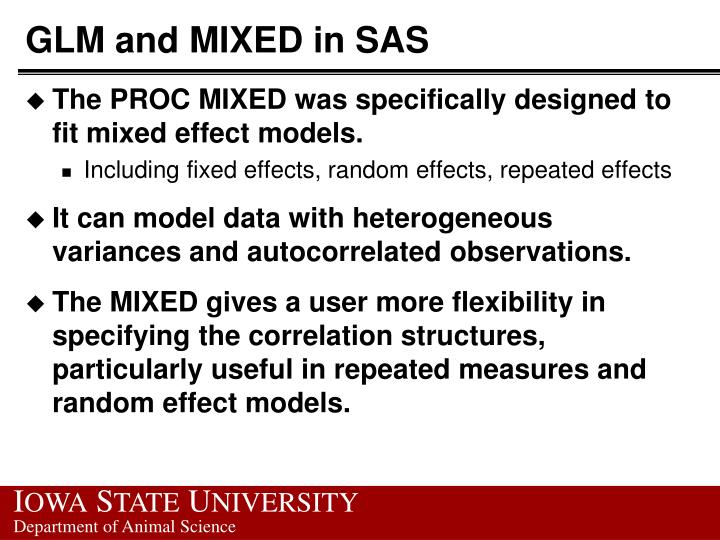 Glm and mixed in sas1